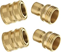 M MINGLE Garden Hose Quick Connect Fittings, 3/4'' GHT Solid Brass, Quick Connector Set, 2-Pack