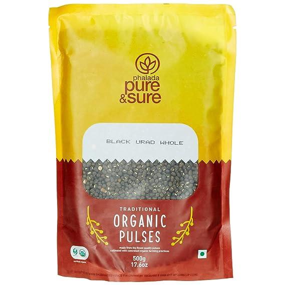 Pure and Sure Organic Black Urad Whole, 500g