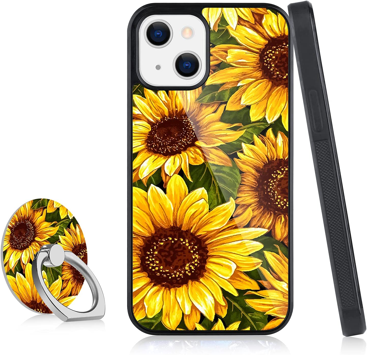 OOK Designed for iPhone 13 Pro Max Case for Women Girls Flower Floral Sunflower Blossom Cute Design with Ring Holder Stand Kickstand Slim Protective Hard Back Bumper Cover Case