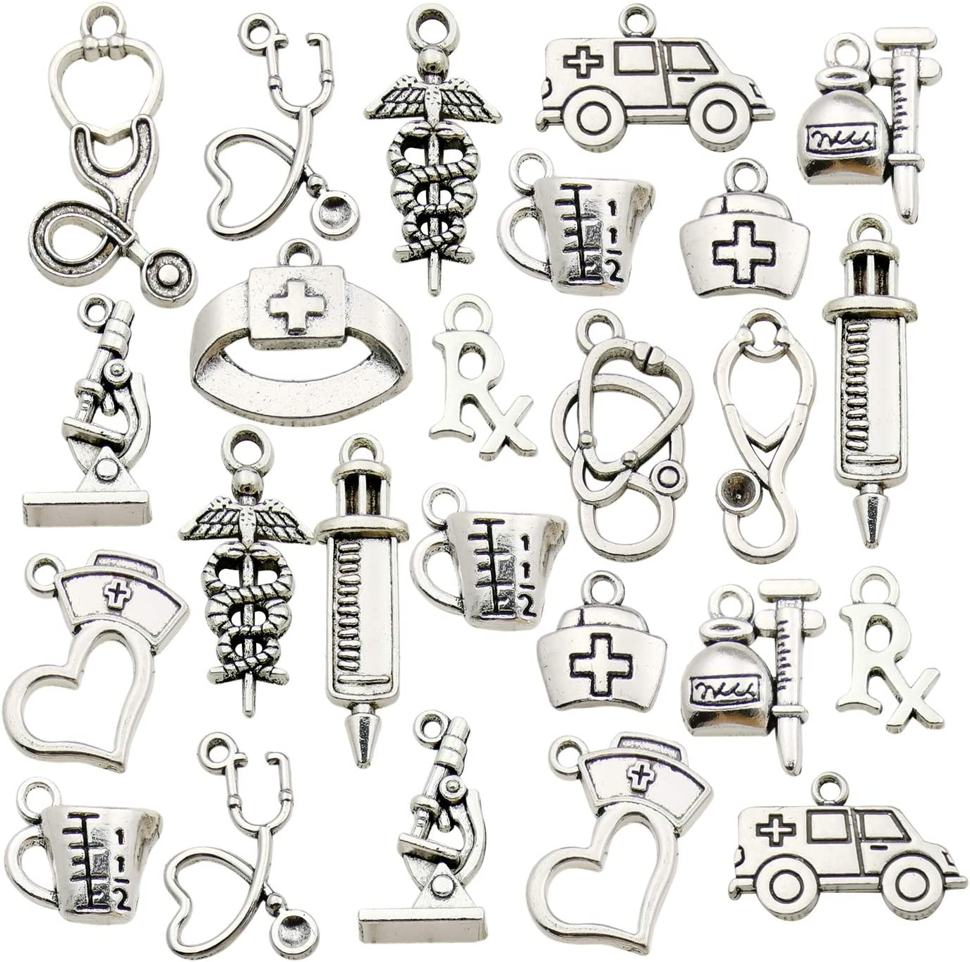 Cash special price WOCRAFT 70pcs Craft Supplies Antique Nurse Silver Charms Philadelphia Mall Medical