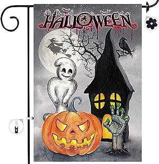 Bonsai Tree Halloween Decorative Garden Flag Sets, Double Sided Jack O Lantern Pumpkins Yard Flags, Spooky Black Cat Ghost...