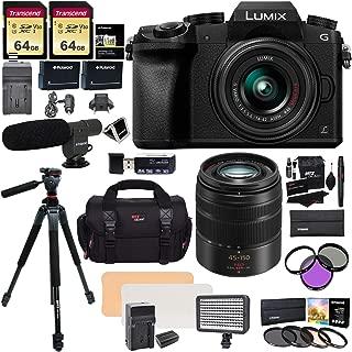 Panasonic DMC G7KK Mirrorless 4K Camera 14-42mm Lens Kit + Panasonic H-FS45150AK Lumix G Vario 45-150mm Lens + 2 Transcend 64 GB + LED Light Flash + Ritz Gear 60