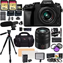 Panasonic DMC G7KK Mirrorless 4K Camera 14-42mm Lens Kit + Panasonic H-FS45150AK Lumix G Vario 45-150mm Lens + 2 Transcend 64 GB + LED Light Flash + Ritz Gear 60