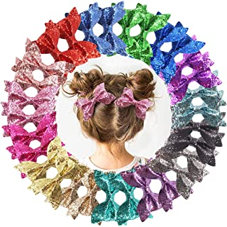 DeD 30 Pieces 4 Inch Glitter hair Bows clips for girl Multi Color Sparkly Sequins hair bows Alligator Clips for Baby Girls Teens Toddlers(15 Pair)