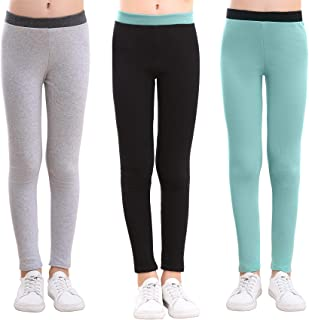 slaixiu Cotton Ankle Length Girls Leggings Stretchy Kids Pants 3-12y