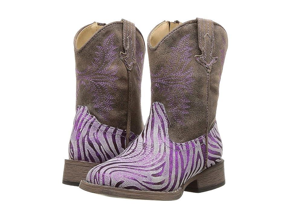 Roper Kids Metallic Zebra (Toddler) (Purple Metallic Zebra Vamp) Cowboy Boots
