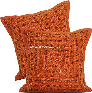DK Homewares Chambre Dentelle Miroir Orange 40x40cm Housse de Coussin Coton Ethnique Traditionnelle Carré Géométrique Flor...