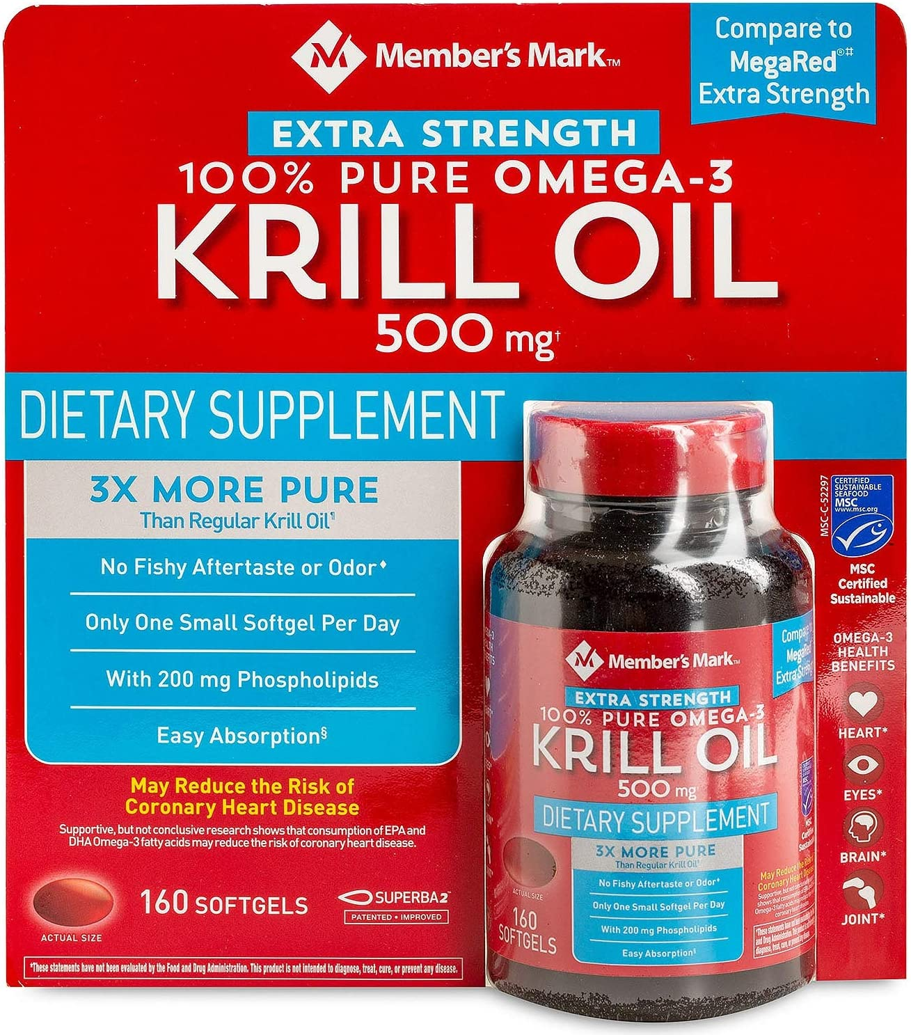 Member's Mark Extra Strength 100% Krill Pure Oil Super sale period limited P Omega-3 unisex