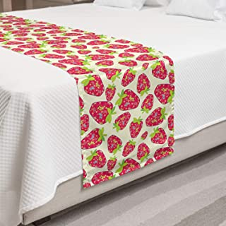 Ambesonne Strawberry Bed Runner, Tropical Summer Fruit Pattern Strawberry with Traditional Paisley Motifs, Decorative Accent Bedding Scarf for Hotels Homes and Guestrooms, Multicolor