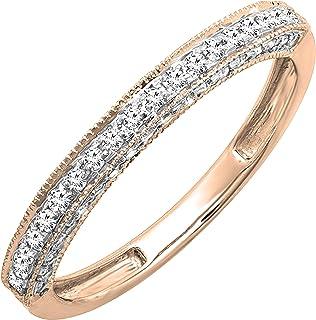 Dazzlingrock Collection Banda protectora de realce de boda con diamantes redondos de 0.40 quilates (ctw), oro rosa de 14 k...