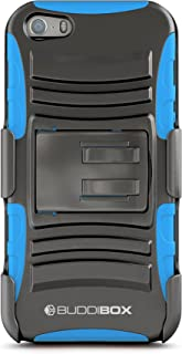 BUDDIBOX iPhone 5s Case, [HSeries] Heavy Duty Swivel Belt Clip Holster with Kickstand Maximal Protection Case for Apple iPhone 5 / 5s / SE, (Blue)