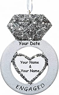 Personalized Glittered Diamond Engagement Ring Christmas Ornament for Engaged Couple with Free Couples Name and Date (Optional)