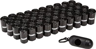 Amazon Basics Hondenpoepzakjes, met Dispenser en Riemclip, 600 Stuks, Zwart