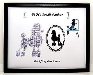 """Nuovo Word Art personalizzato""""Fi Fi's Poodle Parlor"""", compleanno, Natale, grazie o regalo generale. Presentato in cornice ..."""