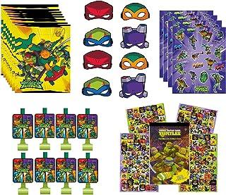 Teenage Mutant Ninja Turtles TMNT Birthday Party Supplies Favor Bundle Includes Loot Bags, Blowouts, Paper Mask, Stickers