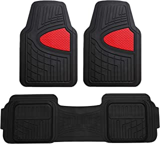 FH Group F11511 Car Floor Mats All-Weather Heavy Duty Tall Channel Full Set Mats w, Universally Designed for Trucks, Cars, SUVs, All Automobiles- Red/Black