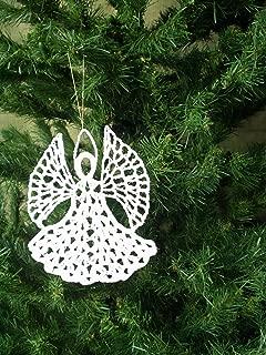 Angel Christmas Ornament, White Crochet #OR-008
