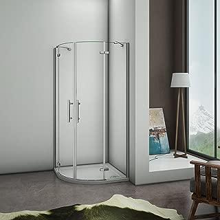 Puerta de ducha Semicircular Esquinal, Mampara de Ducha Apertura de puerta Abatible Curvo Antical 78x78x195cm