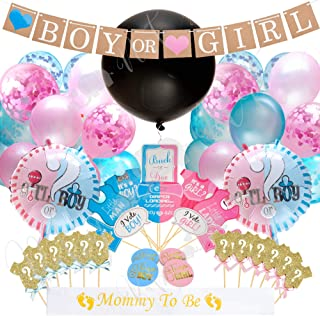 Baby Nest Designs Gender Reveal Party Supplies (103 Pieces) With The Original Gender Reveal Balloon! Boy or Girl Banner Decorations, Foil Balloons, Photo Props, Cupcake Topper, Stickers Sash and More!
