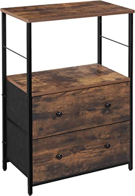 SONGMICS Nightstand, Rustic Side Table, Dresser Tower with 2 Fabric Drawers, Storage Shelves, and Wooden Top, Metal Frame, Industrial, Rustic Brown and Black ULGS003B01