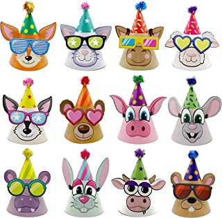 Birthday Hats for Kids DIY Party Hats I PACK OF 12 Cone Party Hats for Kids, Party favors for kids, Hat Birthday Party, bi...
