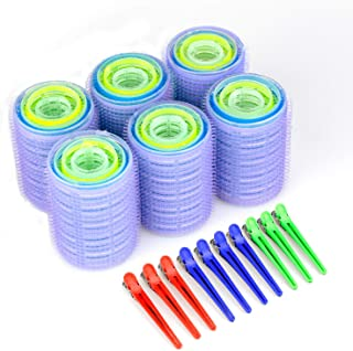 Self Grip Heatless Hair Rollers Set, Self Holding Hair Curlers Rollers and Multicolor Plastic Duck Teeth Bows Hair Clips for Beauty, Random Color Magic Curlers (20mm,28mm,36mm,44mm, 24 pcs)