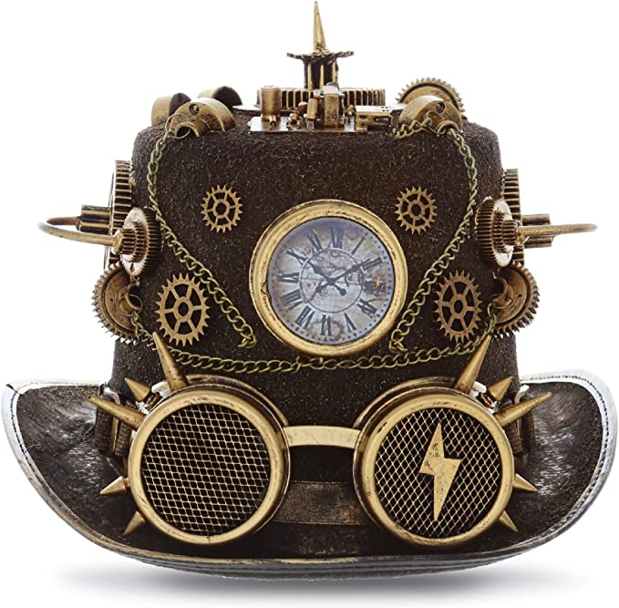 Steampunk Accessories | Goggles, Gears, Glasses, Guns, Mask Attitude Studio Steampunk Time Traveler Goggles Top Hat Novelty Costume - Gold  AT vintagedancer.com
