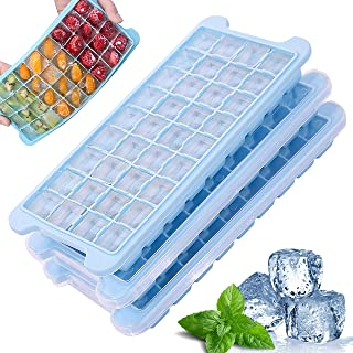 Aisiming Upgrade Ice Cube Trays with Lids 3 Pack, Easy Release 36 Ice Cube Stackable Flexible Food Grade BPA Free Silicone...