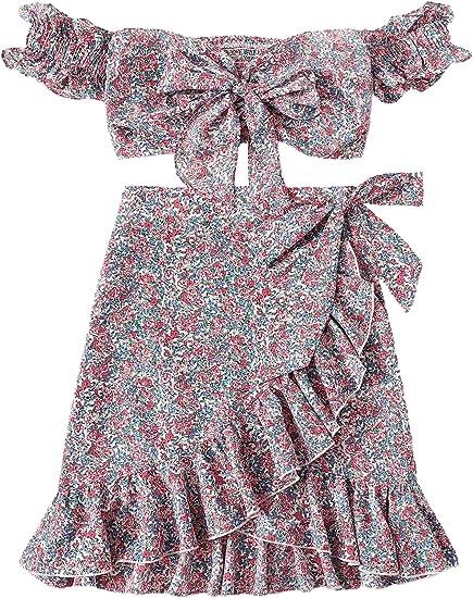 pink blue set skirt top boho