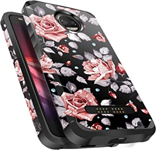 Moto Z2 Force Case Shockproof, Miss Arts Slim Anti-Scratch Protective Kit with [Drop Protection] Heavy Duty Dual Layer Hybrid Sturdy Armor Cover Case for Moto Z2 Force (2017) -Rose Gold Flower