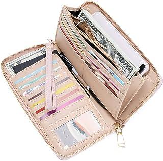 WOZEAH Women s RFID Blocking PU Leather Zip Around Wallet Clutch Large  Travel Purse 37ac7619b695b
