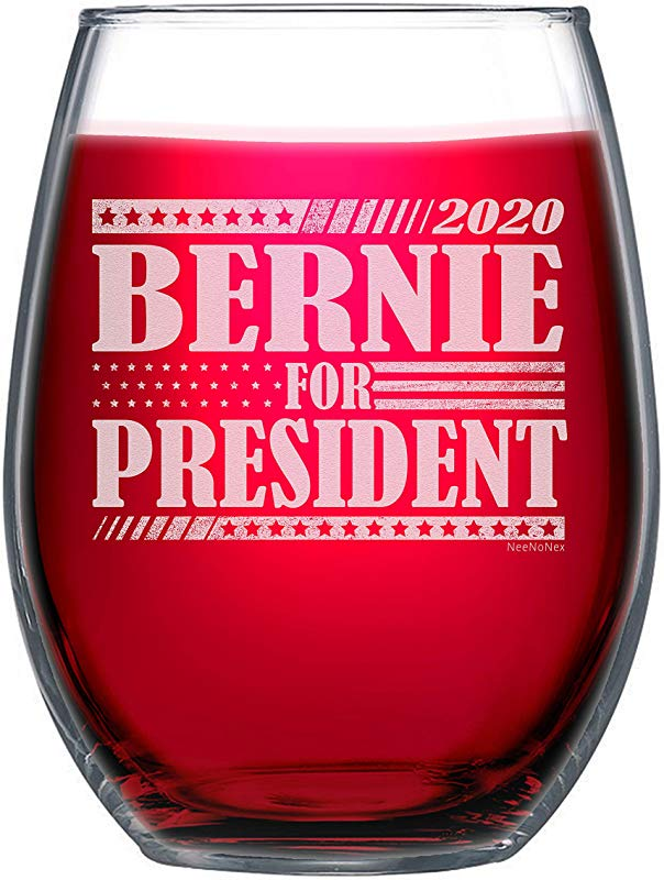 NeeNoNex Bernie For President 2020 Political Election Stemless Wine Glass