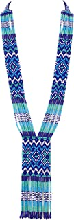 El Allure Native American Navajo Royal Blue,Turquoise and White Patterned Seed Bead Long Handmade Designer Fashion Costume Seed Beaded Preciosa Necklace for Women.