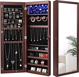 Nicetree 6 LEDs Jewelry Armoire Organizer, Wall/Door Mounted Jewelry Cabinet with Full Length Mirror, Larger Capacity, Dressing Mirror, Brown