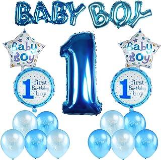 Kesote 風船 誕生日 飾り付け 数字バルーン 1歳 お誕生日の飾りセット パーティー装飾 男赤ん坊用 ブルー 22点セット