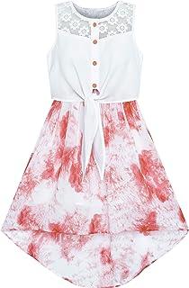 Sunny Fashion Girls Dress Lace to Chiffon Striped Black White Tied Waist Size 7-14 Years