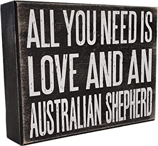 JennyGems All You Need is Love and an Australian Shepherd - Stand Up Wooden Box Sign - Australian Shepherd Home Decor - Aussie Sheperd Decorations and Accessories - Dog Artwork, Queensland,