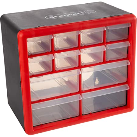 Stalwart - 75-ST6067 Storage Drawers-12 Compartment Organizer Desktop or Wall Mount Container- 4 Large and 8 Small Bins for Hardware, Beads, Jewelry, and More by
