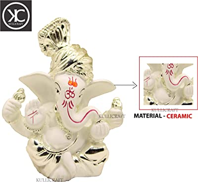 KC KULLICRAFT Handcrafted Ceramic Ganesha Idol Showpiece for Home and Office (Silver)