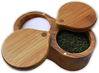 Wooden Spice Shaker Jars Seasoning Box- Wooden Spice Dispenser-Seasoning Condiment Storage Container with Salt Sugar - Bar...