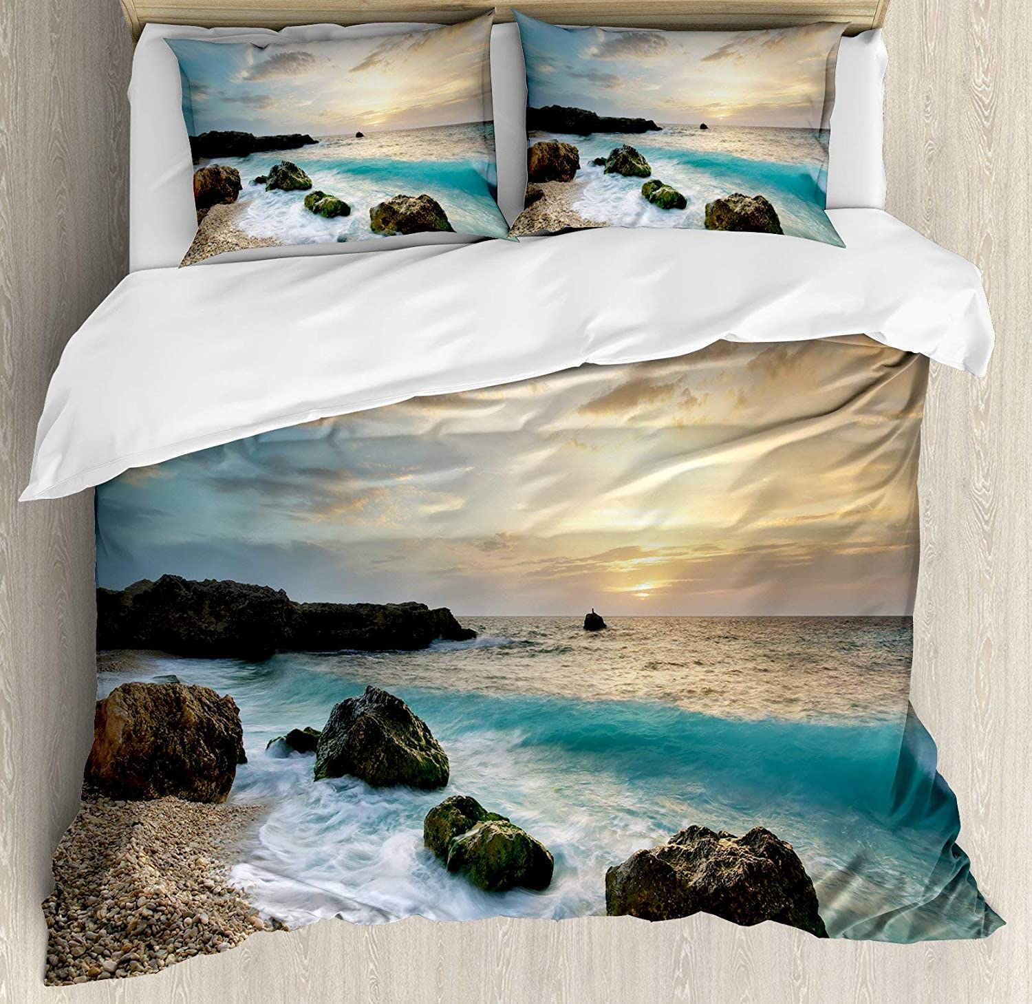 BULING Ocean 4pc Bedding Set Full Size, Seascape Composition of Nature Rocks Waves Cloudy Sky Rising Sun Beach Photo Floral Lightweight Microfiber Duvet Cover Set, Brown bluee Yellow