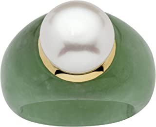10K Yellow Gold Round Genuine Cultured Freshwater Pearl (11mm) and Green Jade Ring
