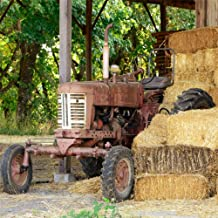 OFILA Ranch Barn Backdrop 5x5ft Old Tractor Agriculture Country Style Background Haystack Rural Landscape Western Cowboy Party Decoration Kids Boys Birthday Photos Autumn Events Video Props