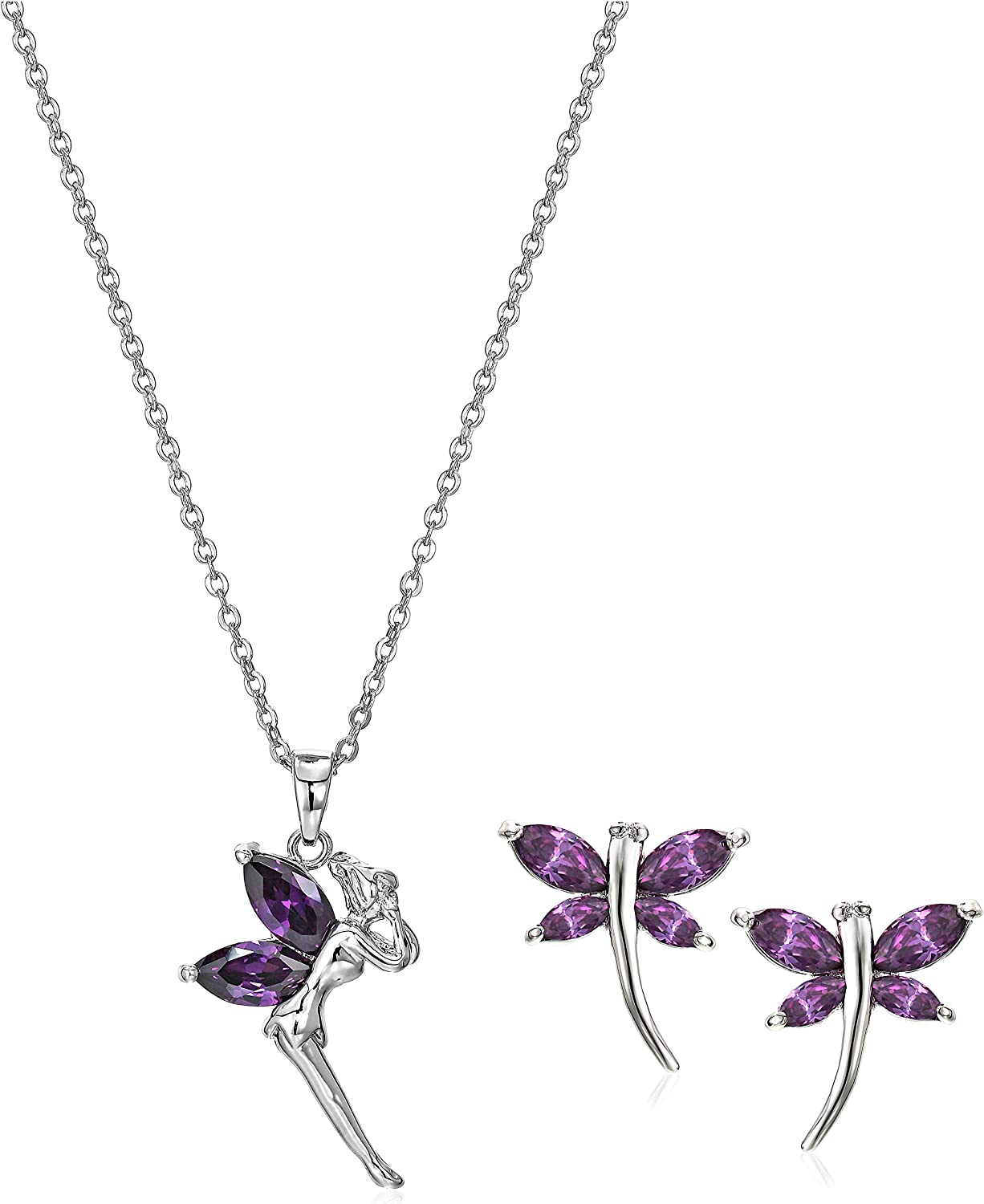 Crystalline Azuria Fairy Tinkerbell Pendant Necklace with Yellow Purple Cubic Zirconia Crystals 18KWhite Gold Plated Colorful Jewelry Necklace for Girls, Teens and Women
