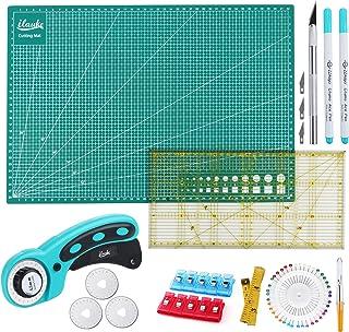 Kit de Cutter Rotatif,Ensemble D'outils avec Cutter Rotatif de 45 mm +Tapis de Découpe A3 D'auto guérison de Double Faces...