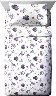 Jay Franco Disney Minnie Mouse Purple Love Full Sheet Set - Super Soft and Cozy Kid's Bedding Features - Fade Resistant Polyester Microfiber Sheets (Official Disney Product)