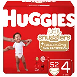 Huggies Little Snugglers Baby Diapers, Size 4 (22-37 lb.), 52 Ct, Big Pack (Packaging May Vary)