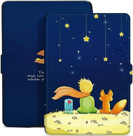 Kindle Paperwhite Funda, E-Reader Funda Protectora de Cuero Elegante con Efecto de Despertador y sueño de PU para Kindle Paperwhite (The Boy and Fox)