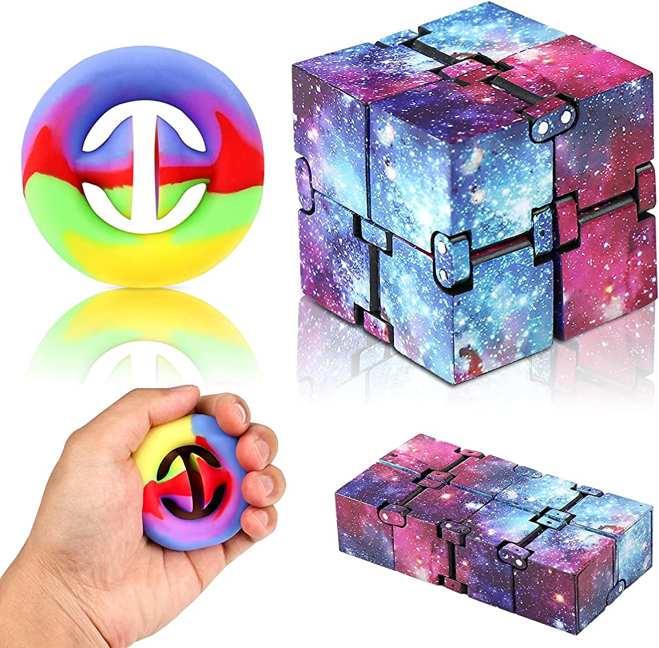 Fresion Infinity Cube Fidget Toy Rainbow Snappers Sensory Fidget Toy,Novelty Finger Toy Stress And Anxiety Relief for Kids &Adults,Killing Time Fidget Toys Infinite Cube Suitable For Office Staf