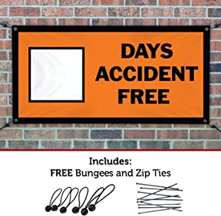 HALF PRICE BANNERS |Blank Days Accident Free Vinyl Banner-Indoor/Outdoor 2X6 Foot-Orange| Includes Ball Bungees & Zip Ties|Easy Hang Sign-Made in USA